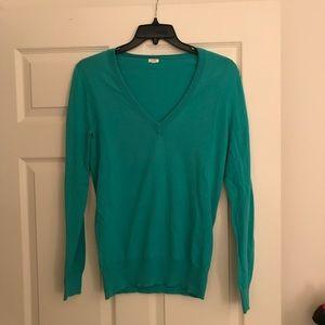 NWOT J.Crew Turquoise V-Neck Sweater